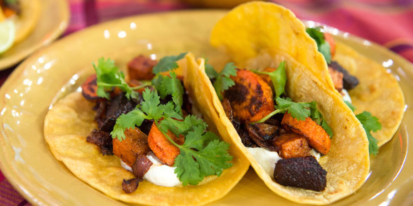 Roasted Root Vegetable Tacos with Goat Cheese Cream