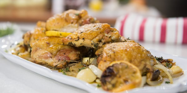 Oven-Roasted Chicken Thighs with Onion and Garlic