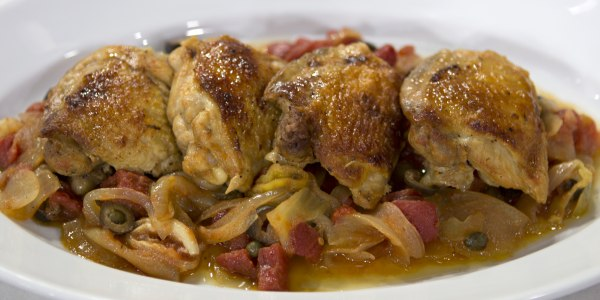 Zingy Braised Chicken with Pepperoncini and Olives