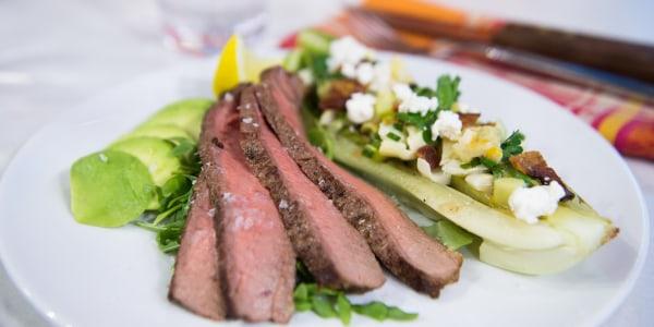 Bone-In Rib-Eye Steak with Arugula and Avocado