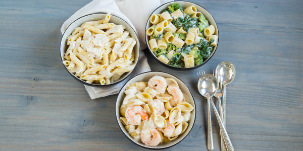 Slow-Cooker Pasta Alfredo 3 Ways