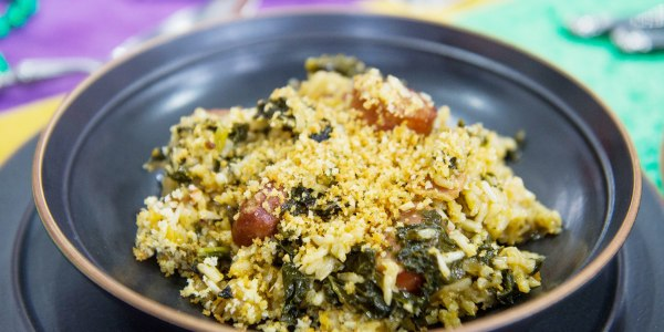 Jambalaya with Sausage, Bacon and Kale