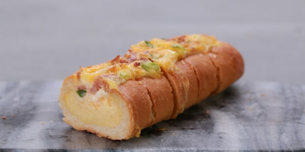 Bacon, Egg and Cheese Breakfast Bread Boat