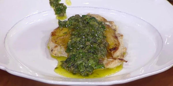 Crispy Chicken Breasts with Lemon Salsa Verde