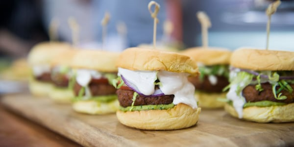 Falafel Sliders with Avocado Hummus
