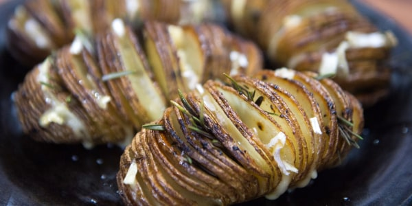 Garlicky, Cheesy, Giant Hasselback Potatoes