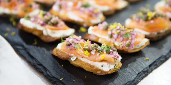Smoked Salmon Tartines with Red Onion and Caper Relish