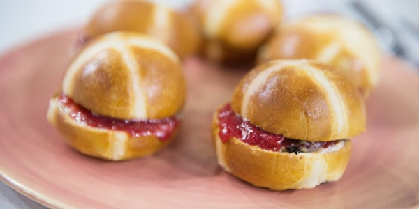 Hot Cross Buns with Spiced Butter and Strawberry Jam