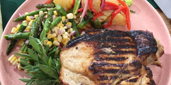 Brined Pork Chops with Grilled Asparagus and Corn Salad