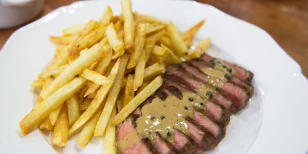 Steak Frites with Au Poivre, Bearnaise and Bordelaise Sauces