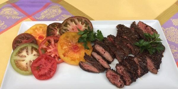 Skirt Steak Au Poivre with Feta and Red Wine Vinaigrette