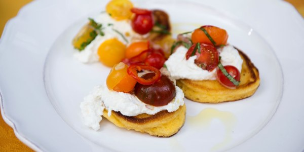 Bobby Flay's Johnnycakes with Ricotta, Tomatoes and Chiles