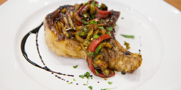 Bobby Flay's Grilled Balsamic Pork Chops with Peppers