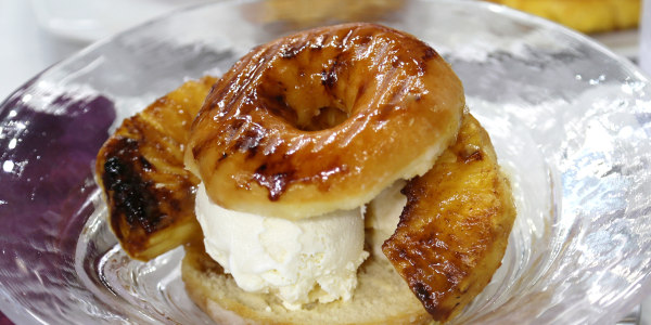 Grilled Pineapple and Doughnut Sundaes with Rum Sauce
