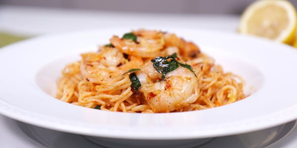 Foil Packet Shrimp With Angel Hair Pasta