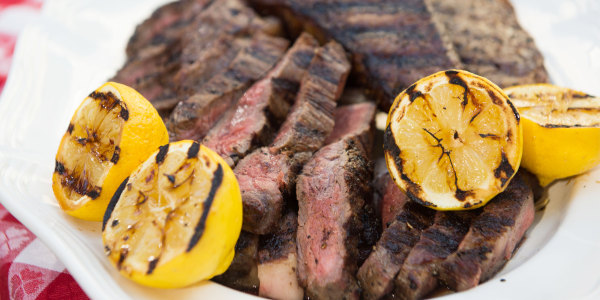 Grilled New York Strip Steak with Lemon