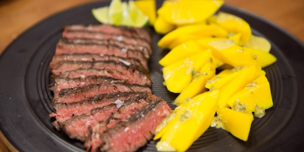 Grilled Skirt Steak with Orange, Oregano and Fresh Mango