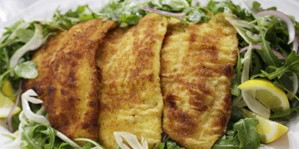 Crispy Oven-Baked Flounder over Arugula and Fennel Salad