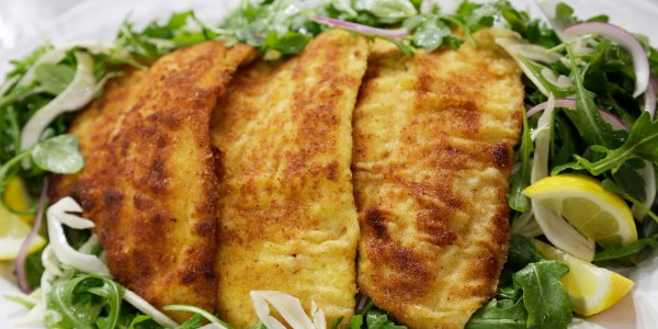 Crispy Oven-Baked Flounder over Arugula and Fennel Salad