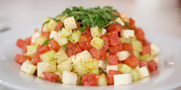 Cucumber and Watermelon Salad with Feta, Mint and Lime