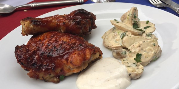 Barbecued Chicken with Tomato Molasses and Spiced Yogurt