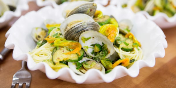 Lidia Bastianich's Spaghetti with Clams and Zucchini