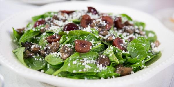 Spinach, Mushroom and Cherry Salad with Mustard Vinaigrette