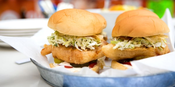 Fried Fish Sandwiches with Spicy Tartar Sauce