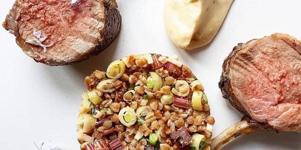 Lamb Chops with Warm Buckwheat Salad and Tzatziki