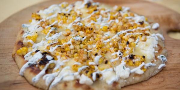 Cheesy Grilled Corn Flatbread with Cilantro Crema