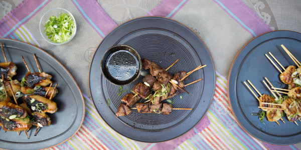 Chicken, Scallop and Steak Skewers with Yakitori Sauce