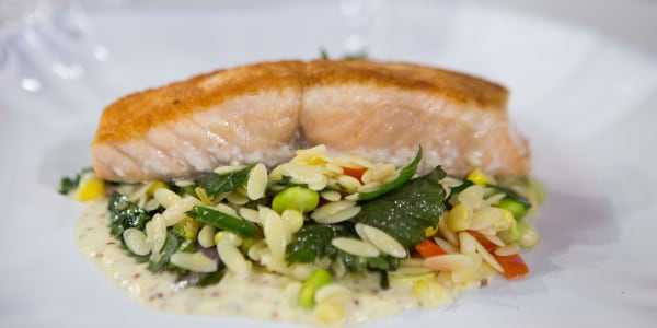 Giada's Pan-Roasted Salmon with Summer Orzo Succotash