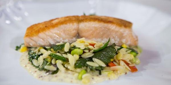 Giada's Pan-Roasted Salmon with Summer Orzo Succotash