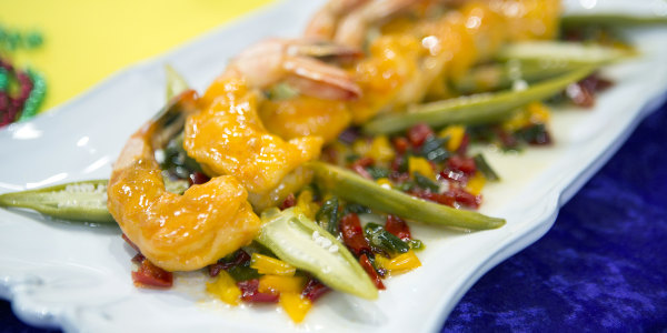 Shrimp and Tasso with Five Pepper Jelly