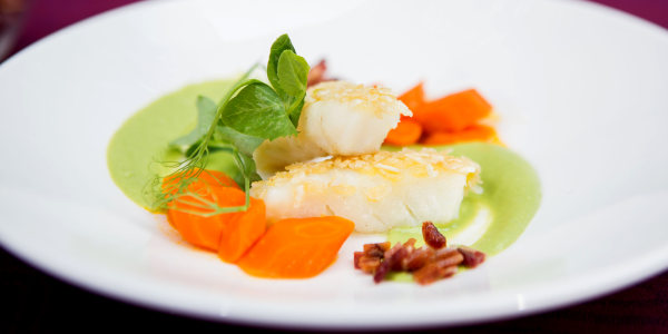 French Fish Sticks with English Pea Sauce and Carrots