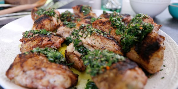 Chicken Under a Brick with Salsa Verde