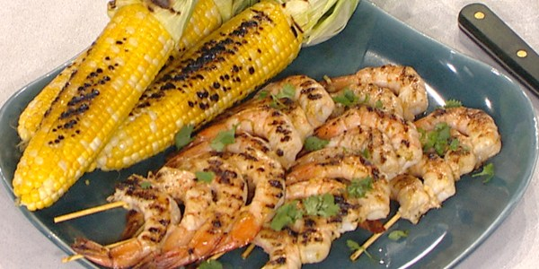 Grilled Shrimp Skewers and Corn on the Cob