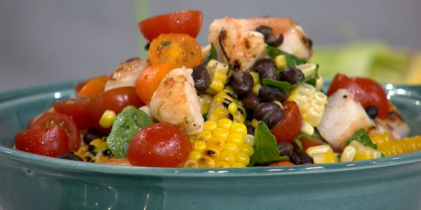 Grilled Corn and Shrimp Southwestern Salad