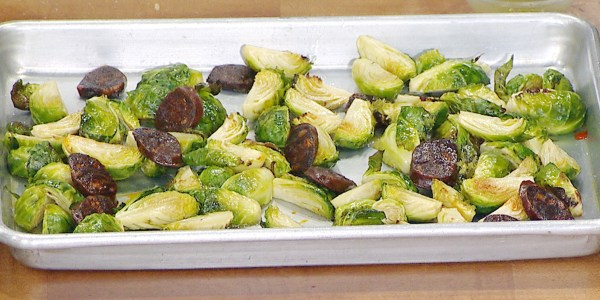 Roasted Brussels Sprouts with Chorizo and Lime