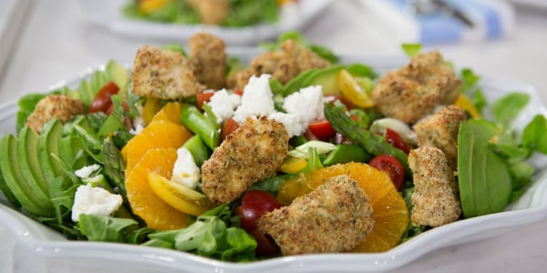 Lower-Carb Popcorn Chicken with Summer Salad