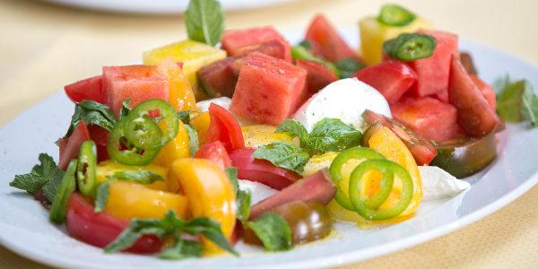 Heirloom Tomato and Watermelon Salad with Mozzarella