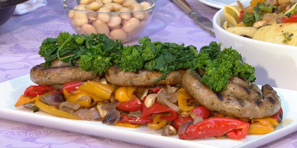 Grilled Italian Sausage with Peppers and Cannellini Beans