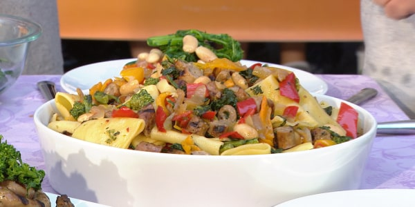 Paccheri with Sausage, Peppers and Cannellini Beans
