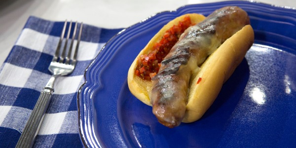Italian Sausages with Provolone and Cherry Pepper Relish
