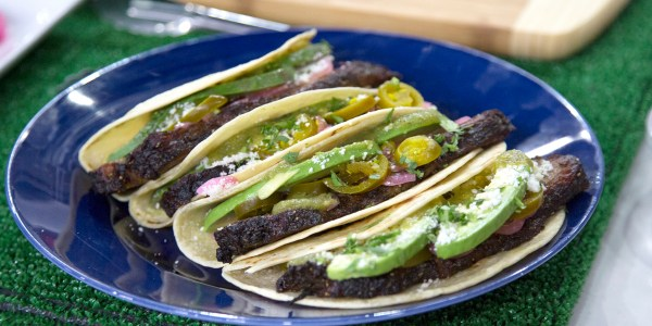 Brisket Tacos with Salsa Verde and Pickled Red Onions