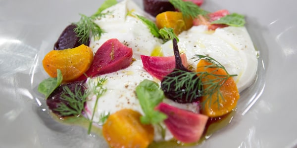 Roasted Baby Beets with Burrata, Lime and Garden Herbs