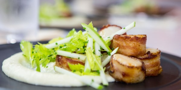 Al Roker's Bacon Wrapped Scallops with Root Vegetable Purée