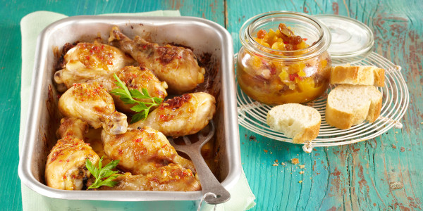 Apple Cider Roasted Chicken with Apple Chutney