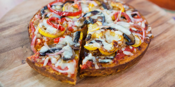 Sweet Potato Crust Pizza with White Wine Sauteed Vegetables