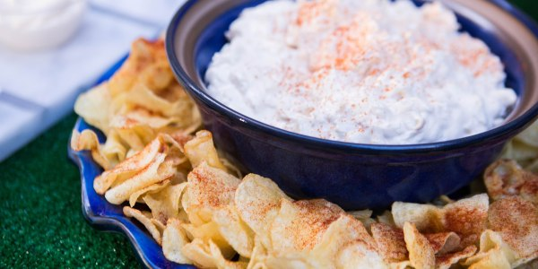 Crab Dip with Spiced Potato Chips